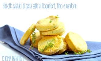 Biscotti salatati di pasta sablé al Roquefort, timo e mandorle