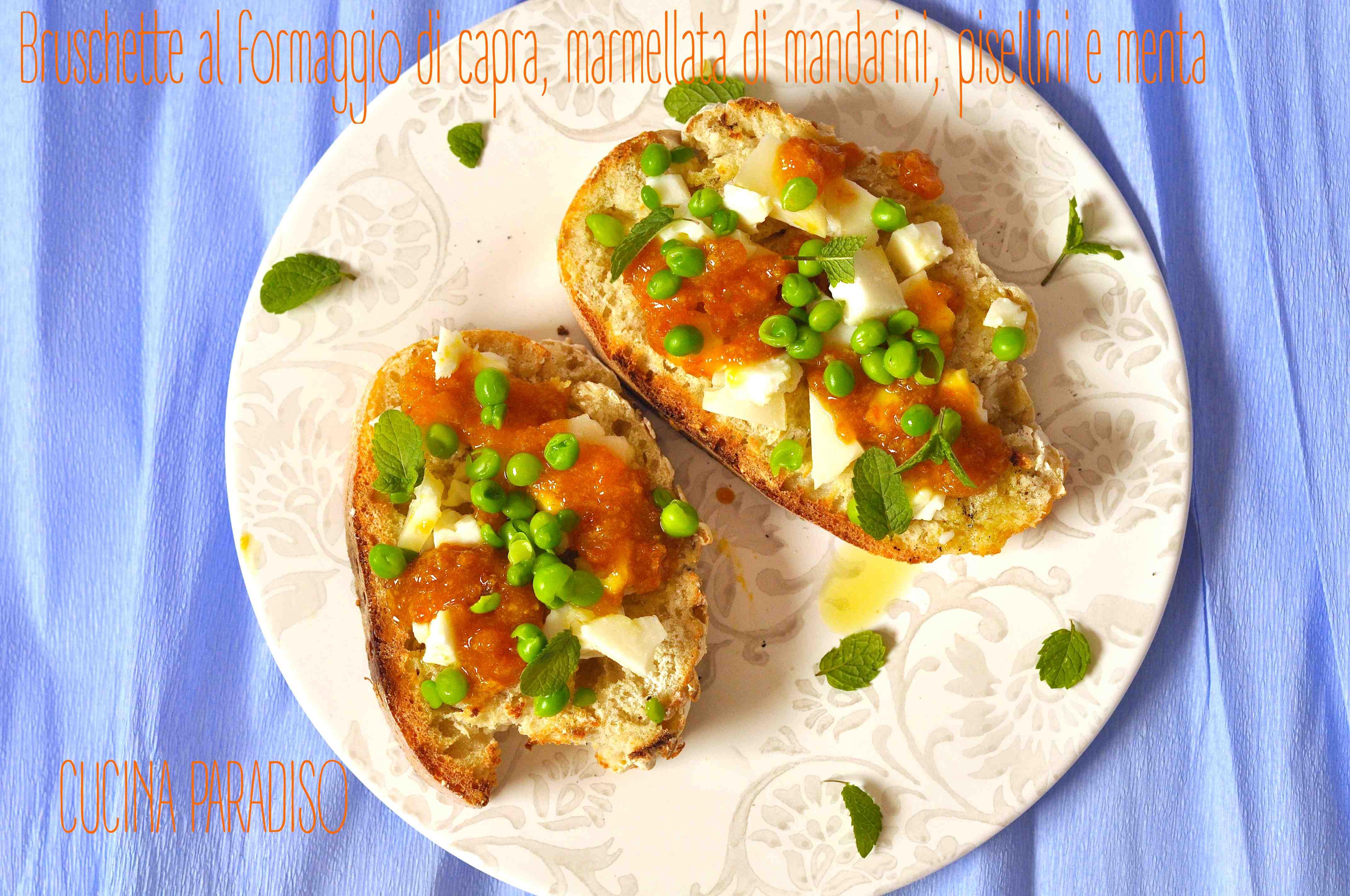 Bruschette al formaggio di capra, marmellata di mandarini, pisellini e menta2