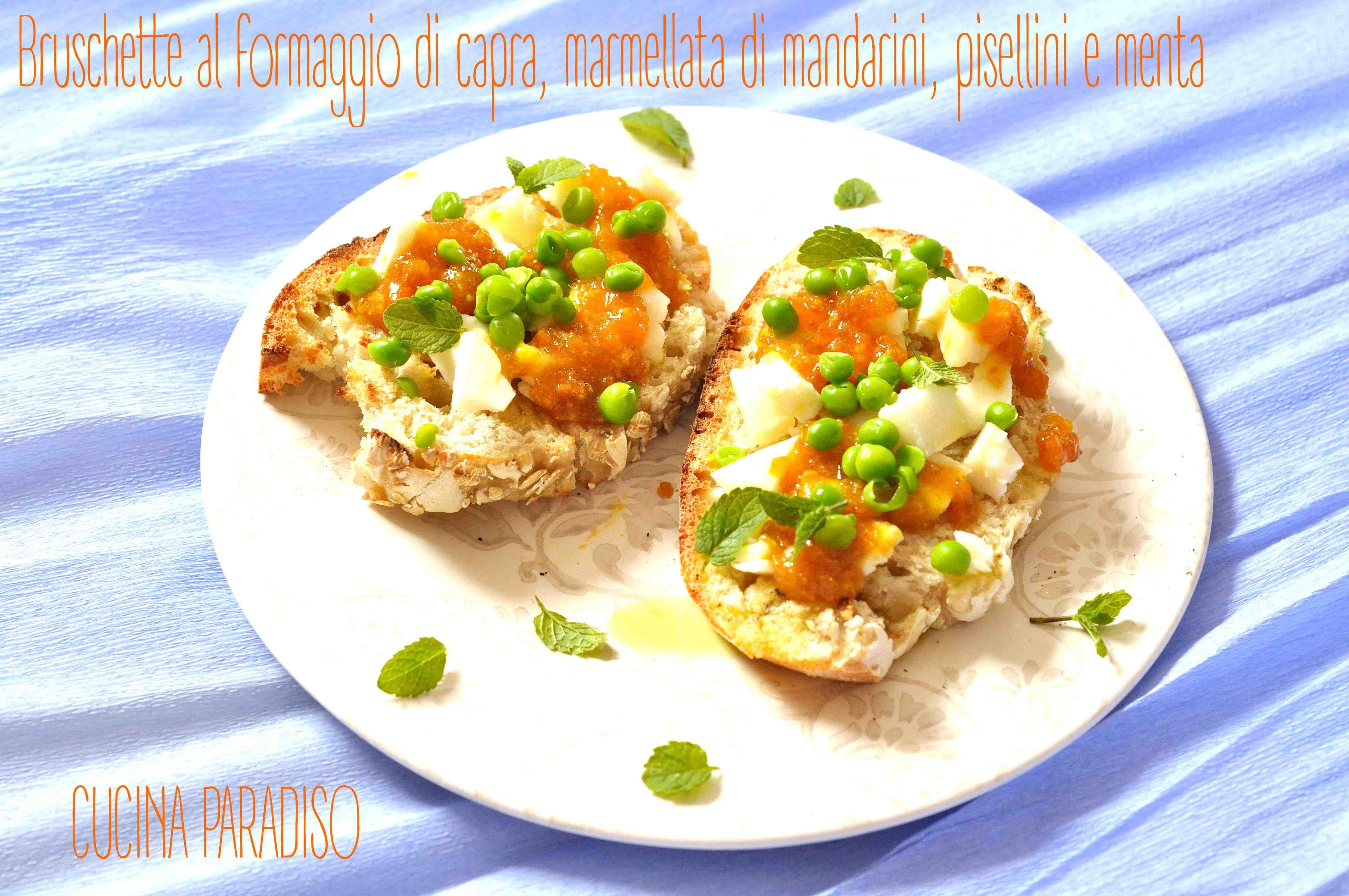 Bruschette al formaggio di capra, marmellata di mandarini, pisellini e menta3