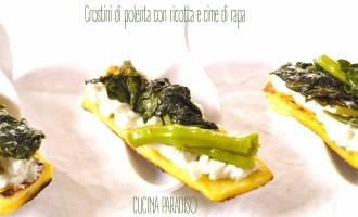 Crostini di polenta con ricotta e cime di rapa