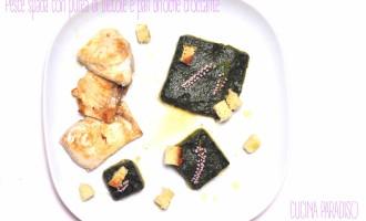 Pesce spada con purea di bietole e pan brioche croccante