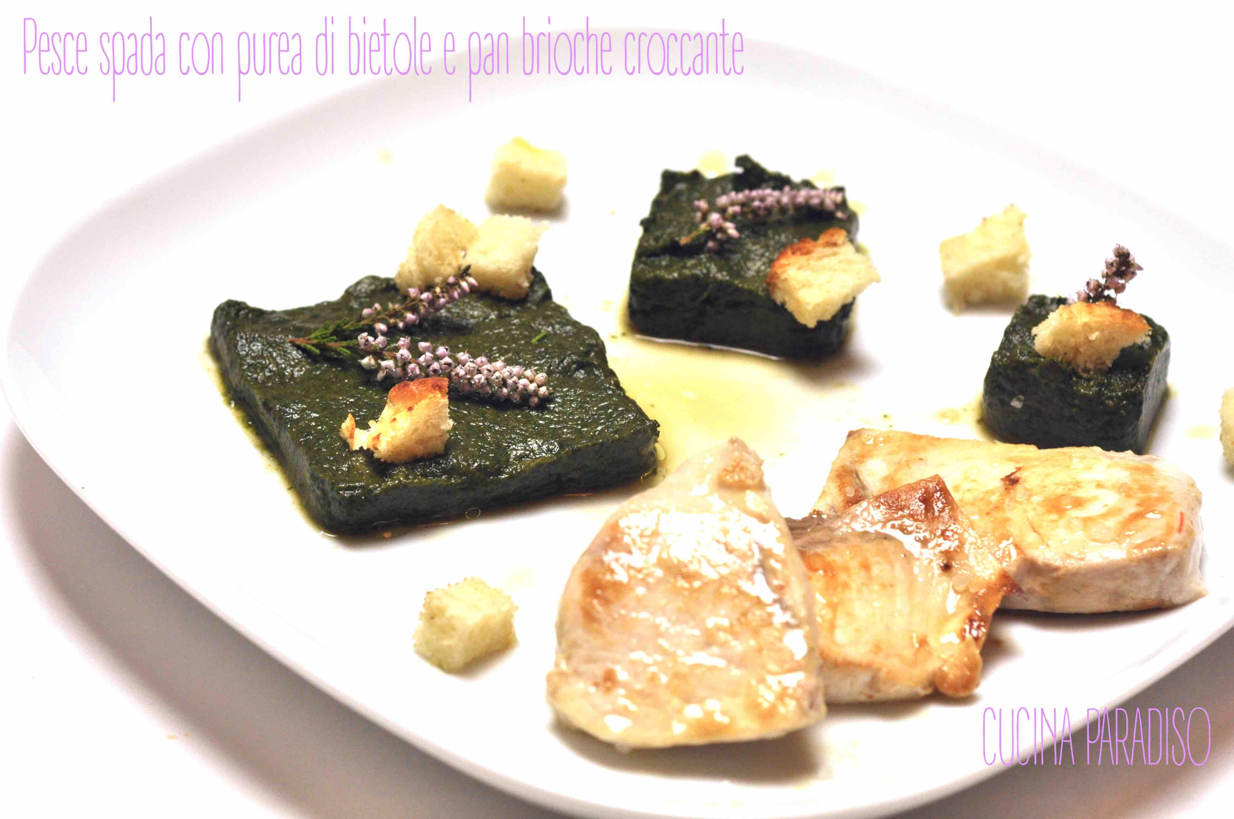 Pesce spada con purea di bietole e pan brioche croccante2
