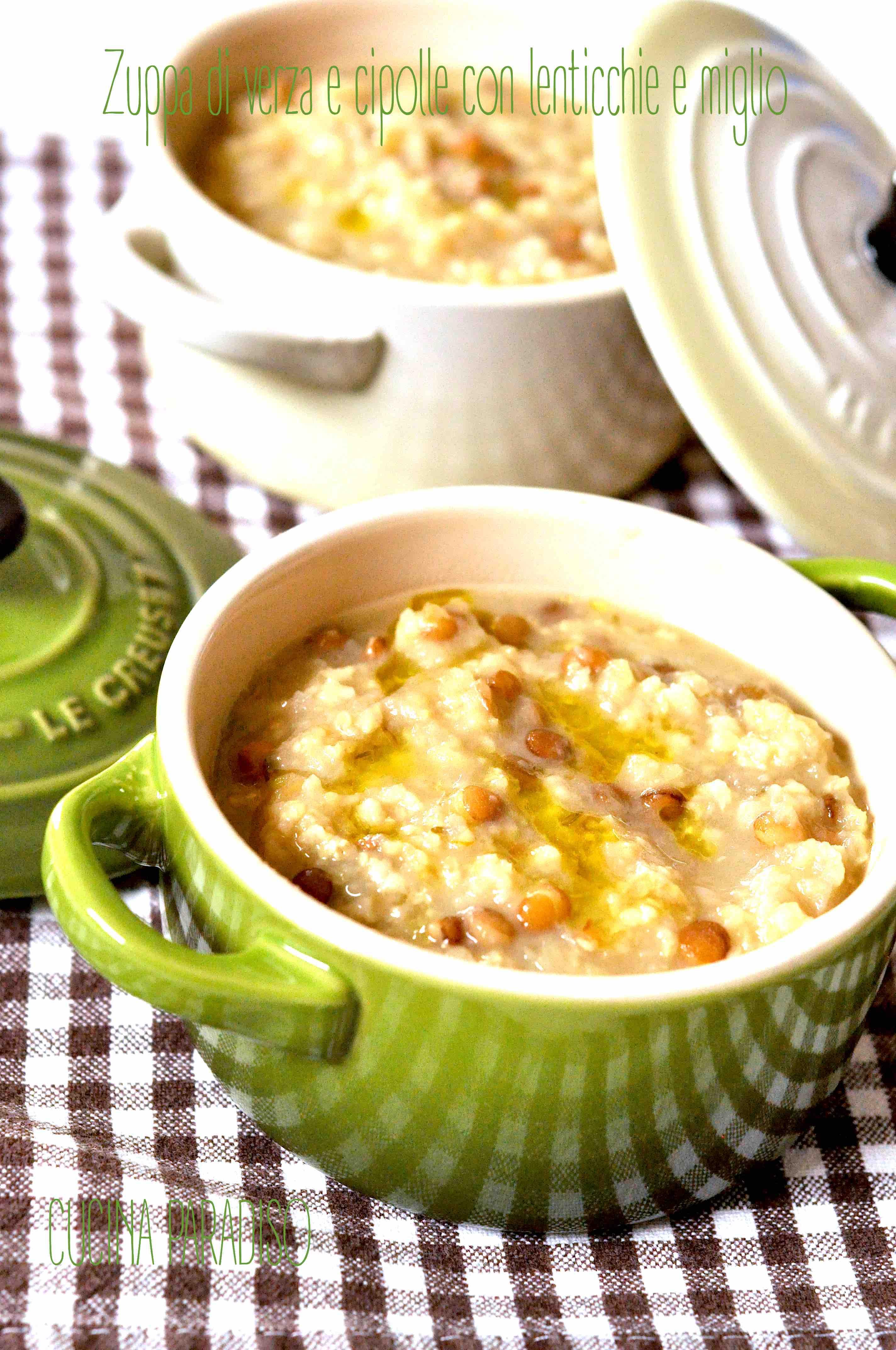 Zuppa di verza e cipolle con lenticchie e miglio2