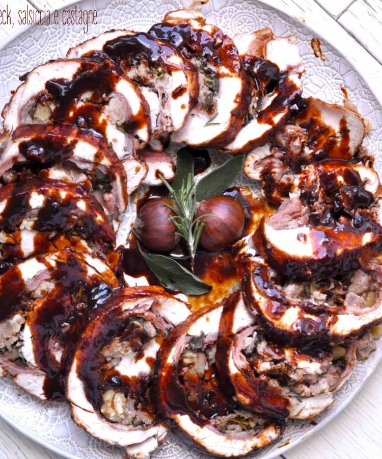 Arrosto di tacchino ripieno con speck, salsiccia e castagne