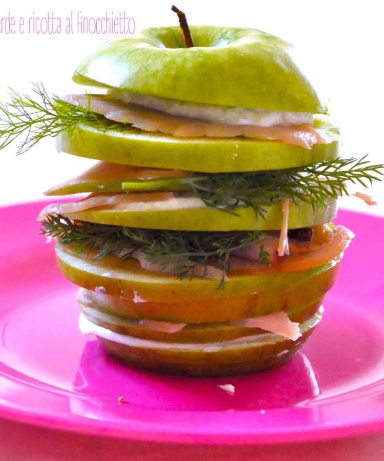 Carpaccio di spada affumicato con mela verde e ricotta al finocchietto