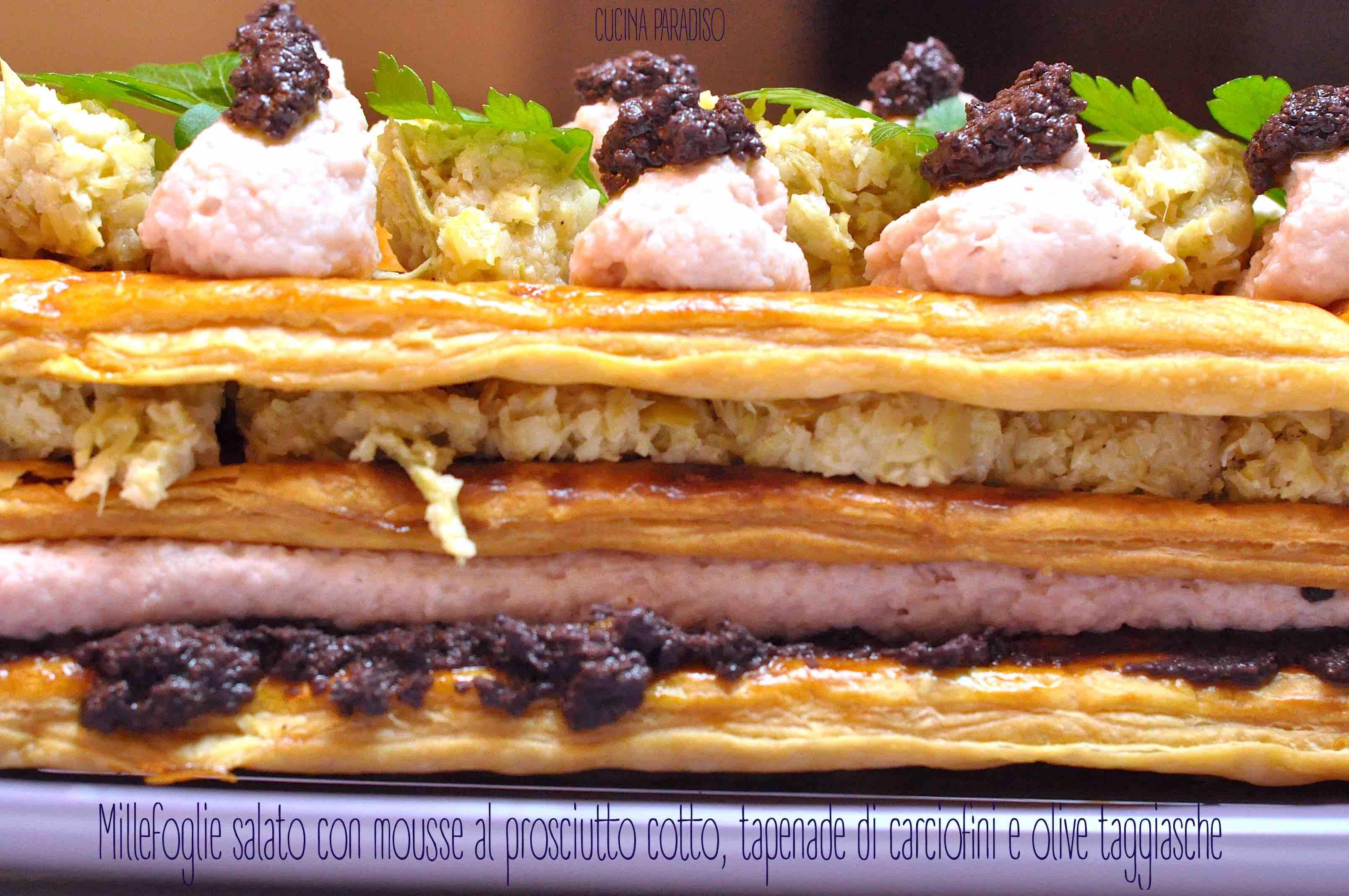 Millefoglie salato con mousse al prosciutto cotto, tapenade di carciofini e olive taggiasche