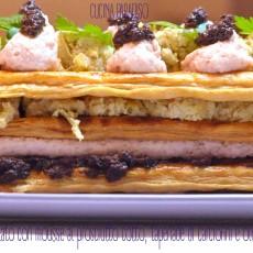 Millefoglie salato con mousse al prosciutto cotto, tapenade di carciofini e olive taggiasche3