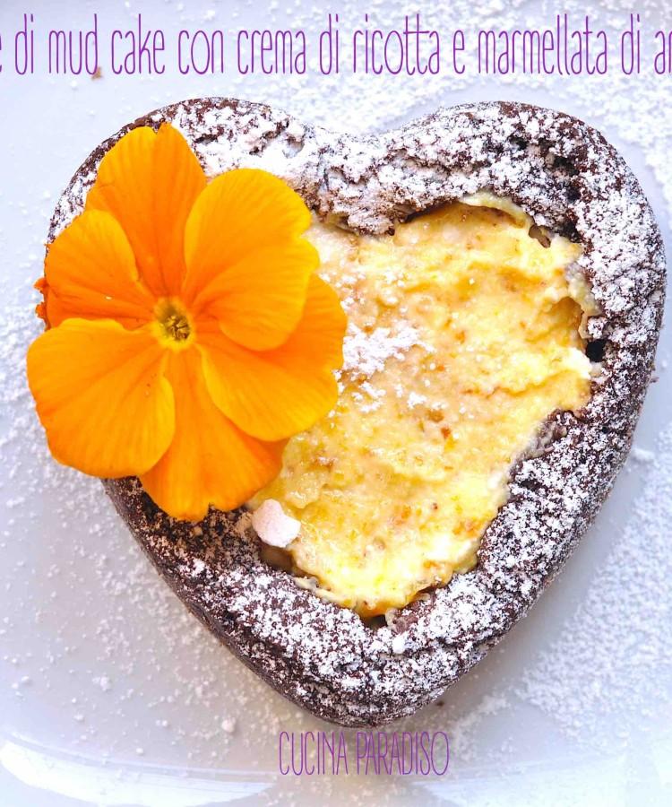 Cuore di mud cake con crema di ricotta e marmellata di arance2