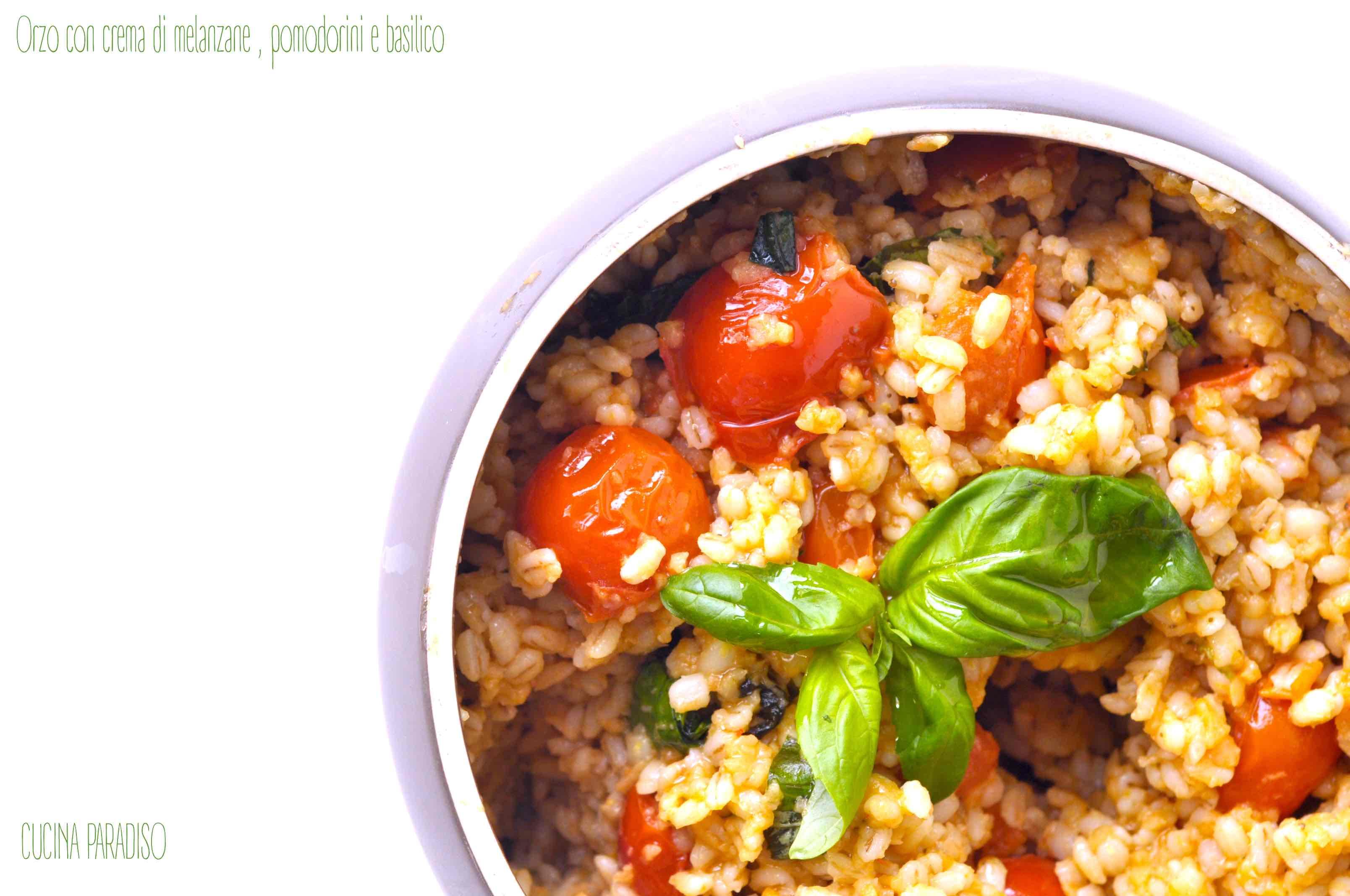 Orzo con crema di melanzane , pomodorini e basilico2