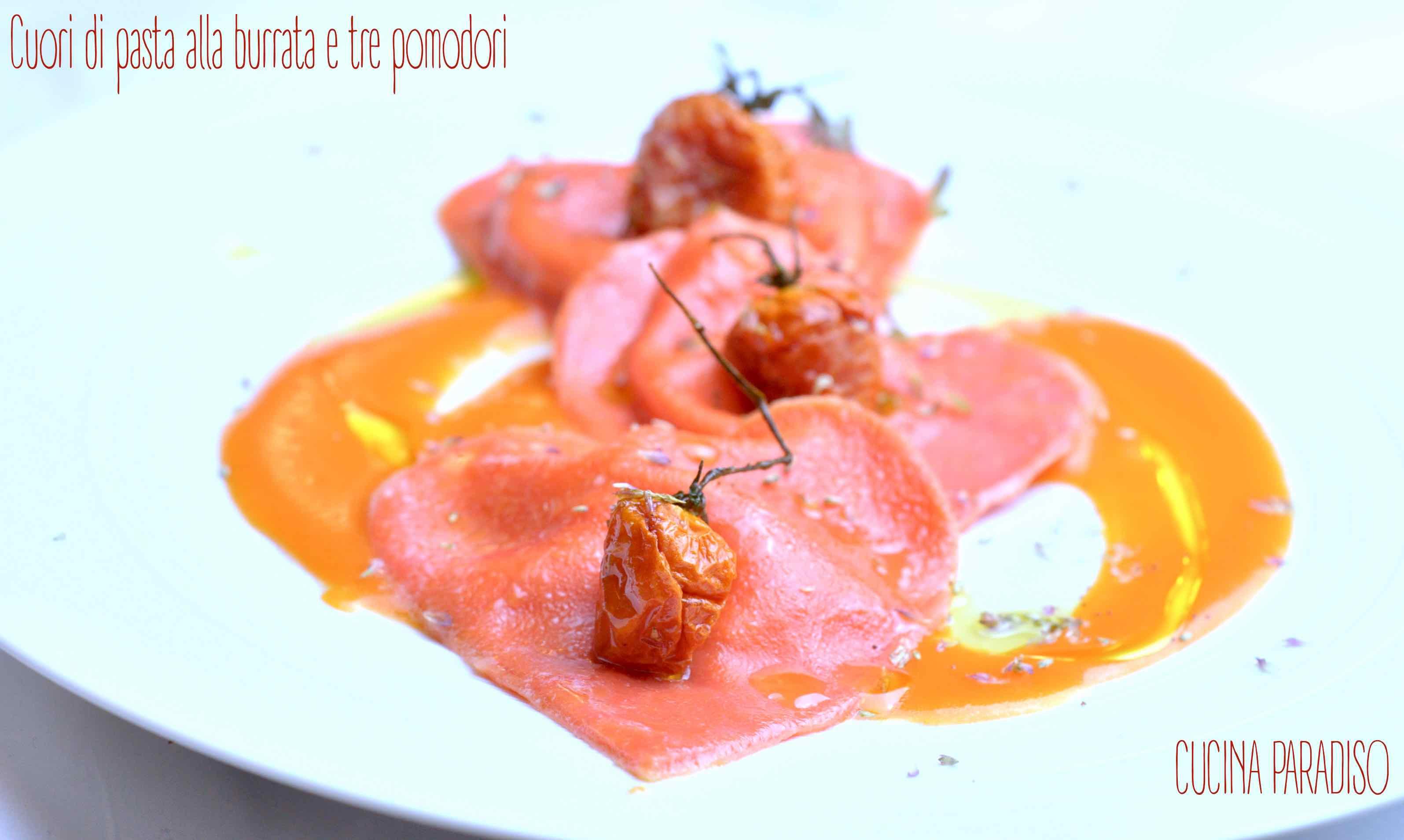 Cuori di pasta alla burrata e tre pomodori2