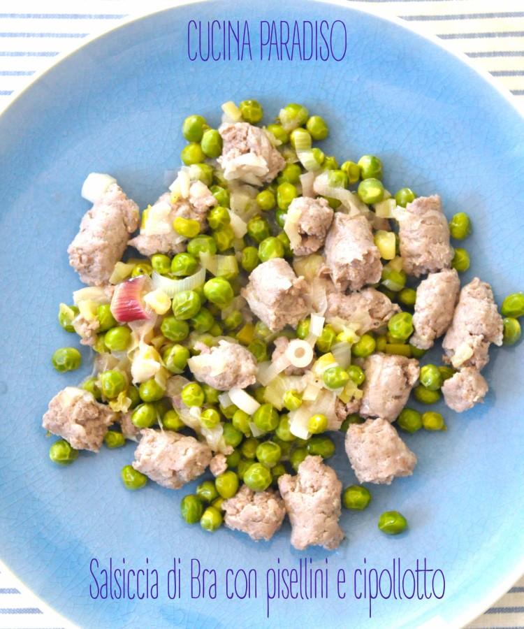 Salsiccia di Bra con pisellini e cipollotto
