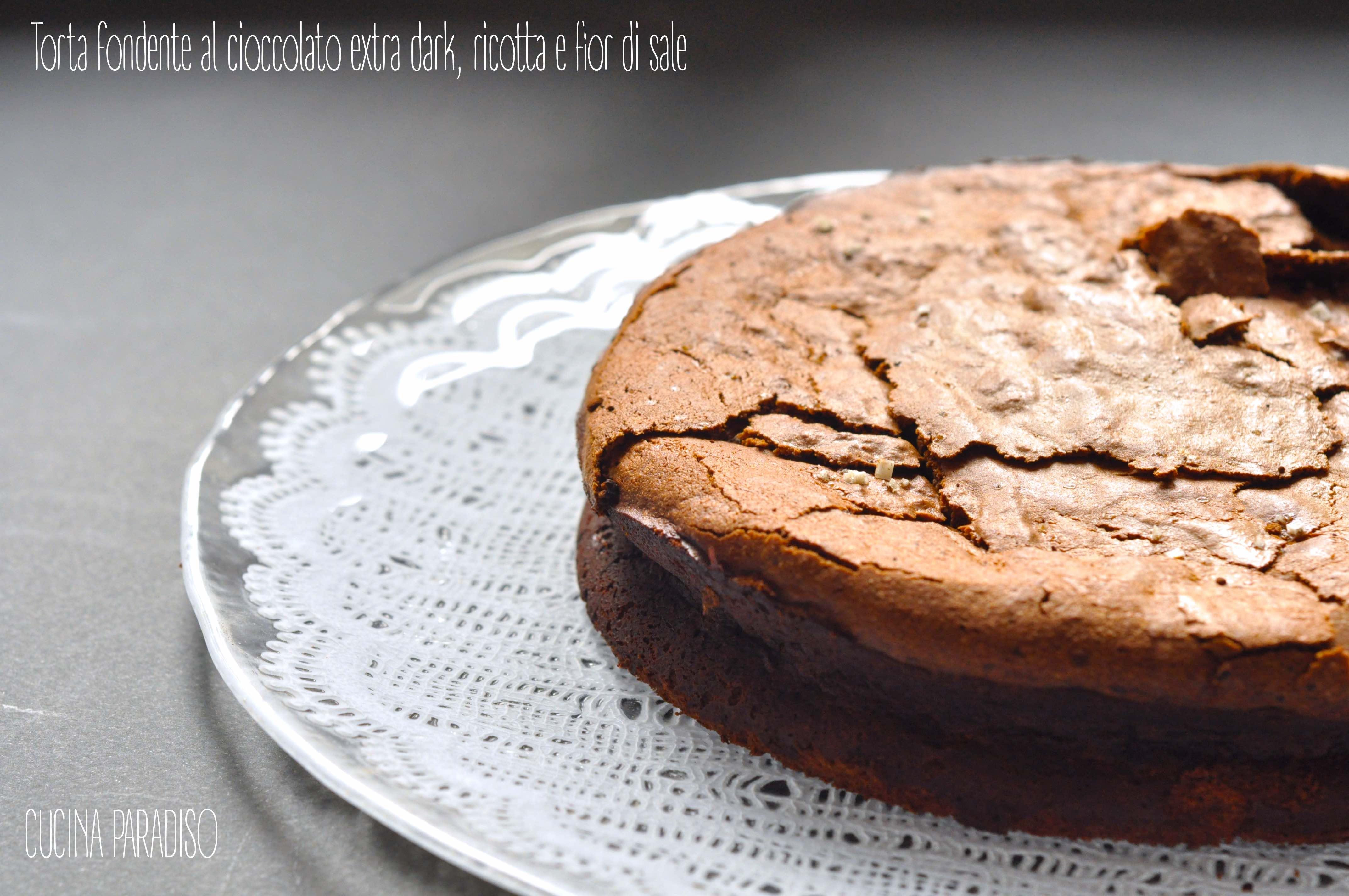 Torta fondente al cioccolato extra dark, ricotta e fior di sale2