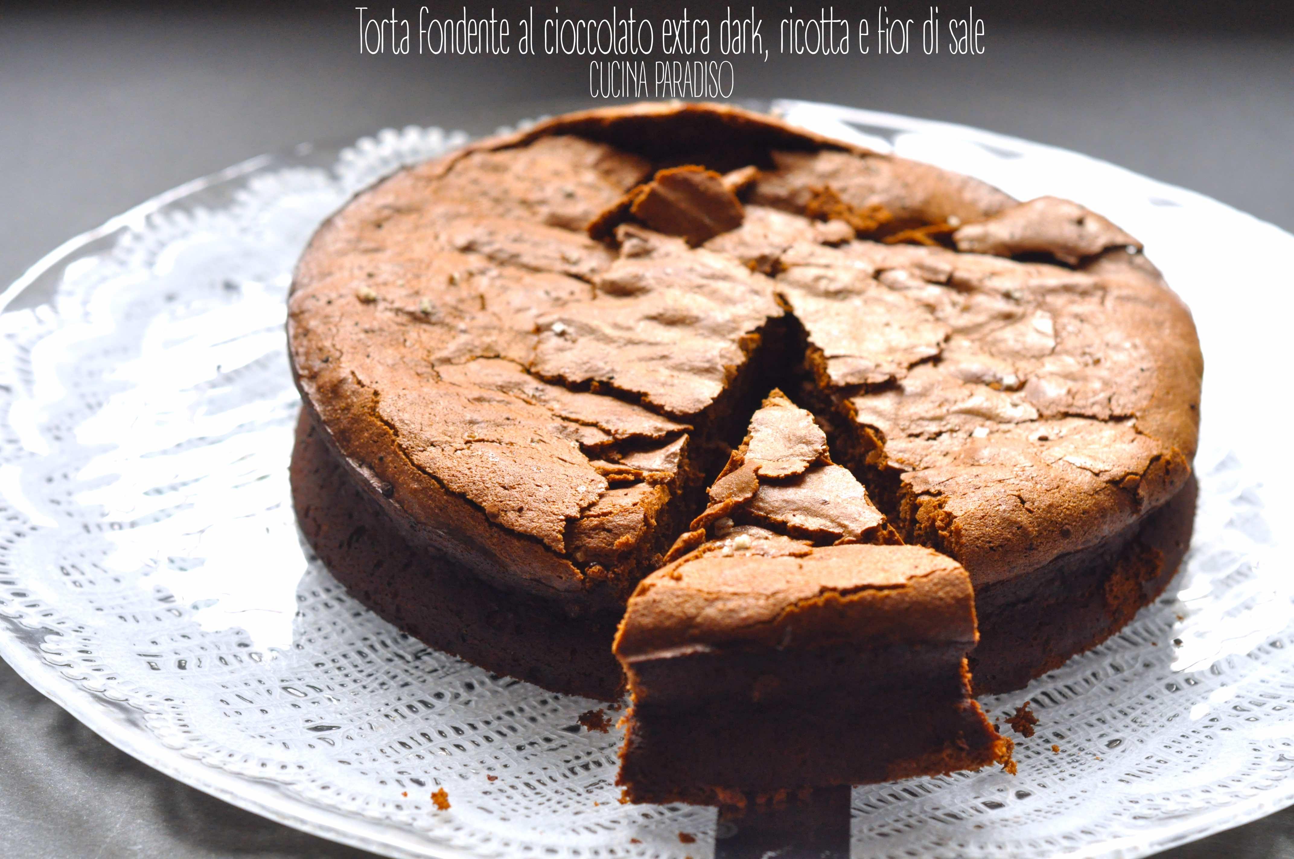 Torta fondente al cioccolato extra dark, ricotta e fior di sale3
