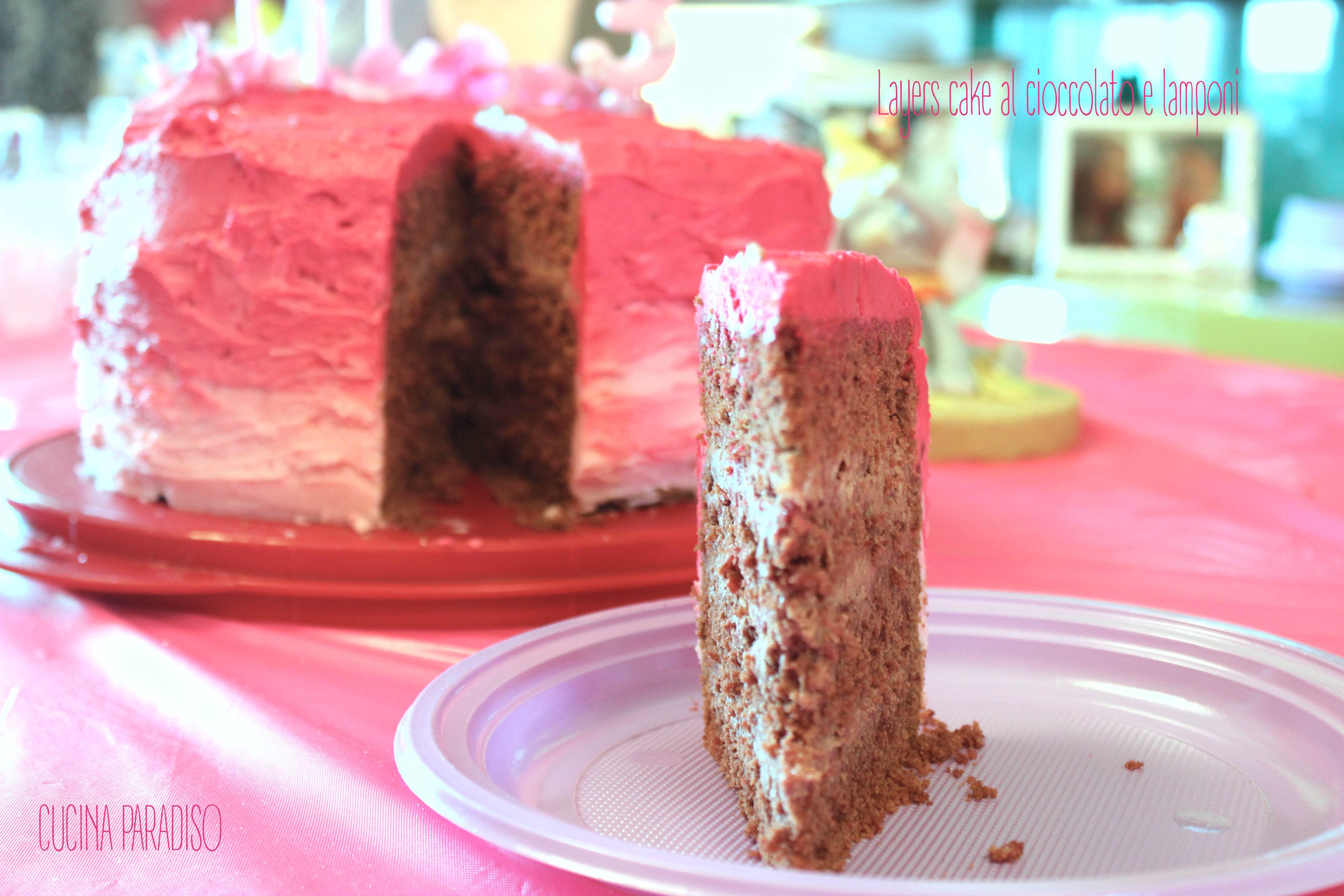 Layers cake al cioccolato e lamponi9