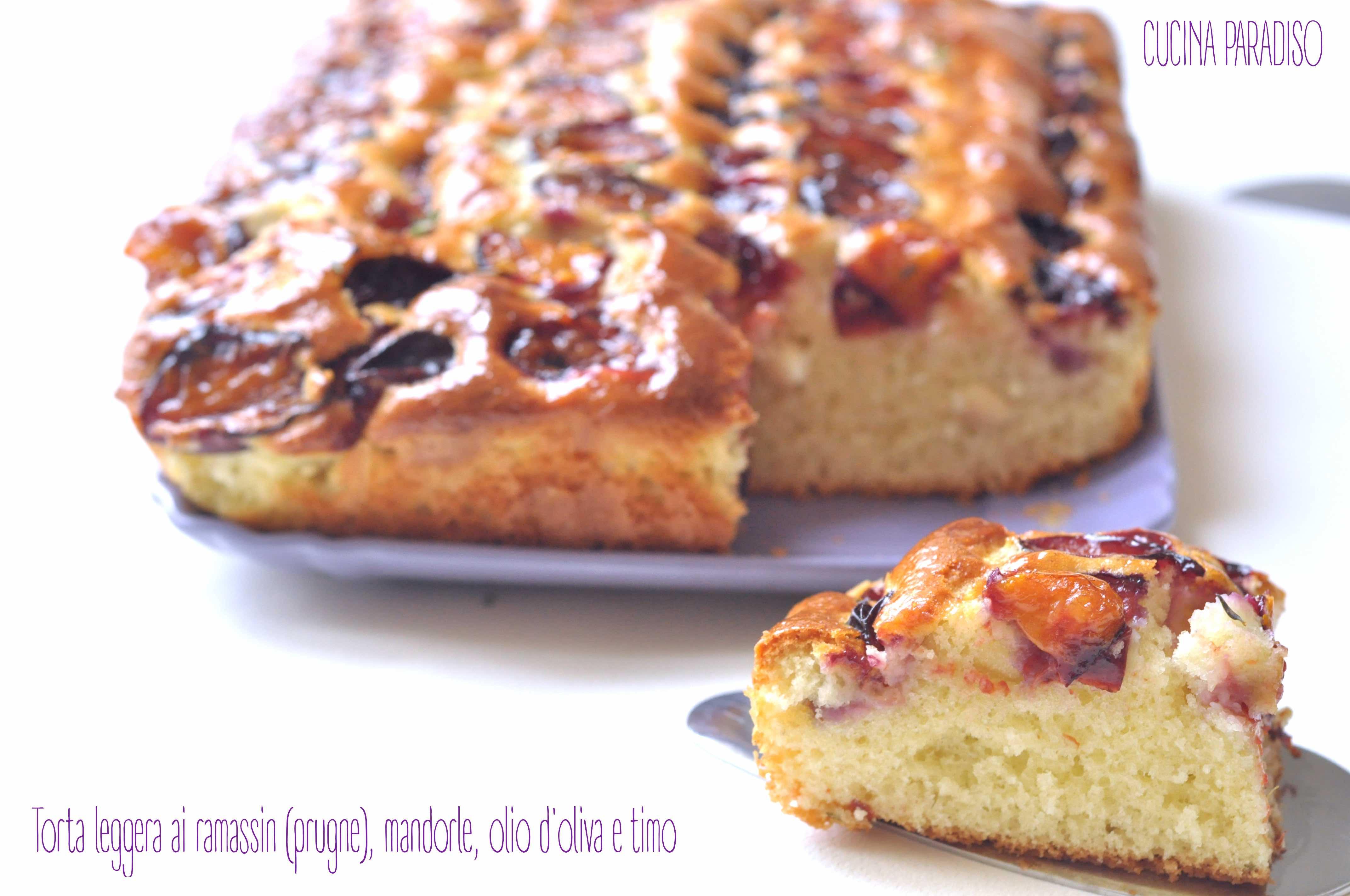 Torta leggera ai ramassin (prugne), mandorle, olio d'oliva e timo4