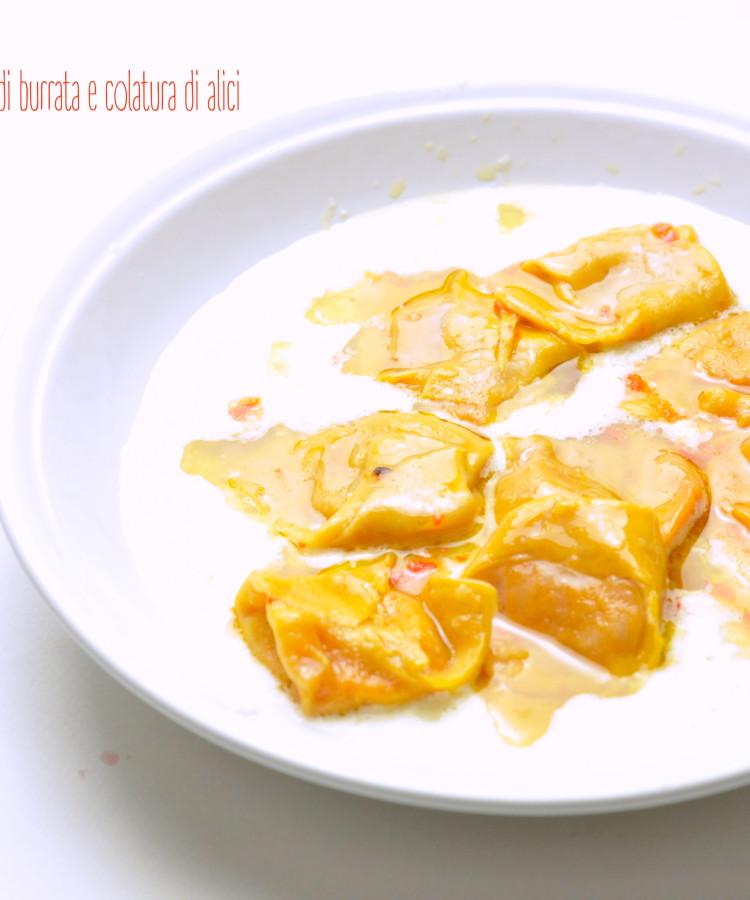 Tortelloni ai peperoni , crema di burrata e colatura di alici3