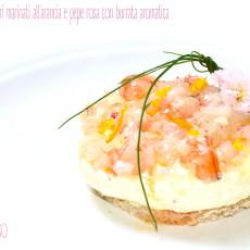 Tartare di gamberi marinati all'arancia e pepe rosa con burrata aromatica2