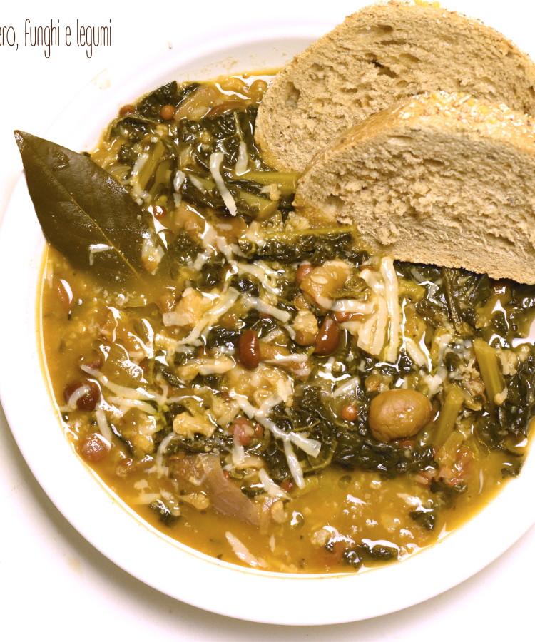 Zuppa invernale con cavolo nero, funghi e legumi