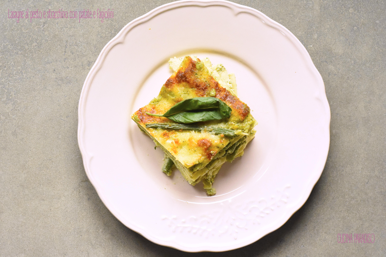 Lasagne al pesto e stracchino con patate e fagiolini2