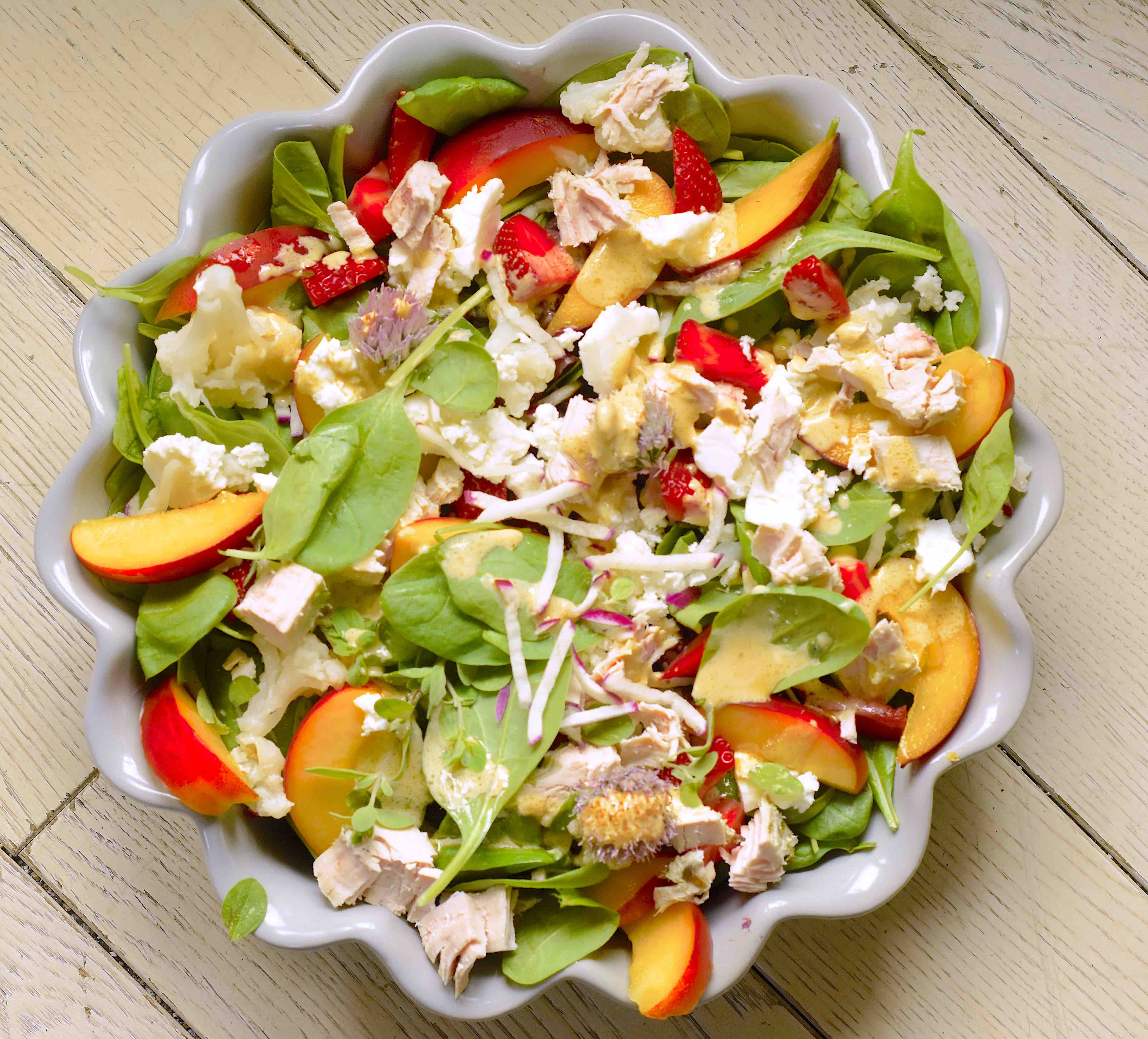 Chicken and feta fruit salad