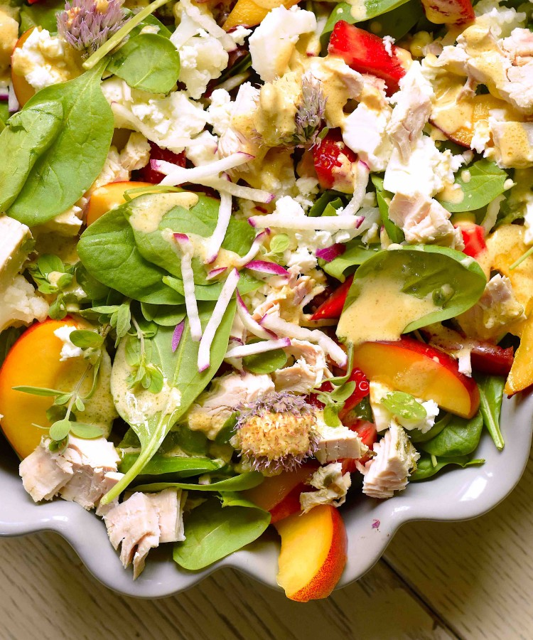 Chicken and feta fruit salad2