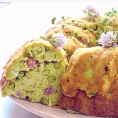Ciambella salata ai piselli, pancetta e pecorino3